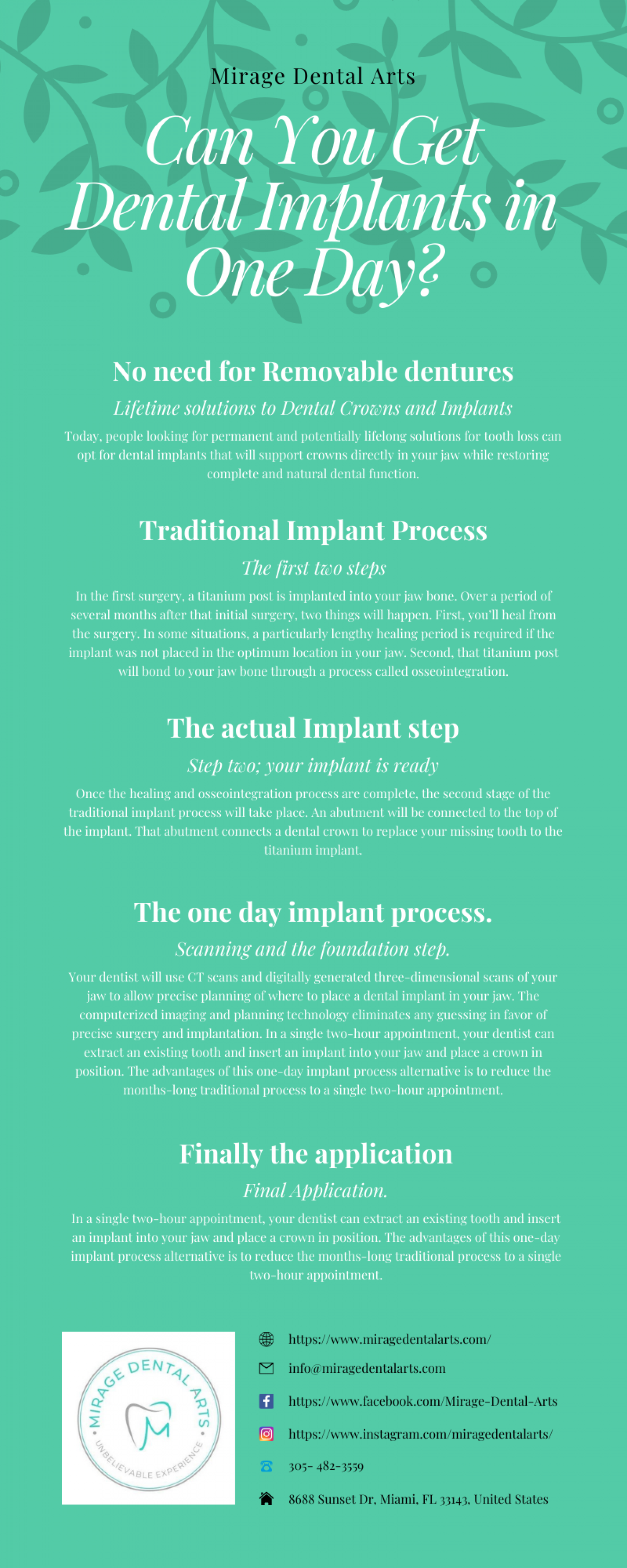 Can You Get Dental Implants In One Day Infographic