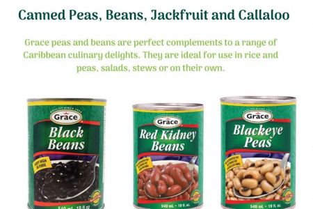 Canned Peas, Beans, Jackfruit and Callaloo - Grace foods Infographic