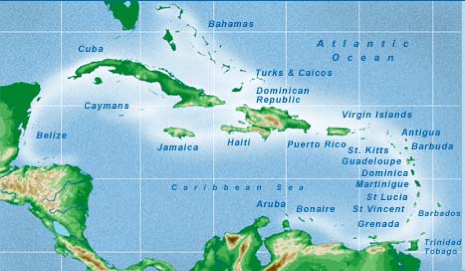 Caribbean Islands Map Infographic