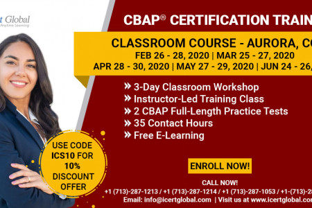 CBAP Certification Training in Aurora-CO   Classroom Training   iCert Global Infographic