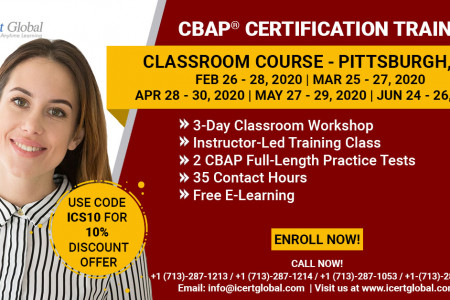 CBAP Certification Training in Pittsburgh, PA   Classroom Training   iCert Global Infographic