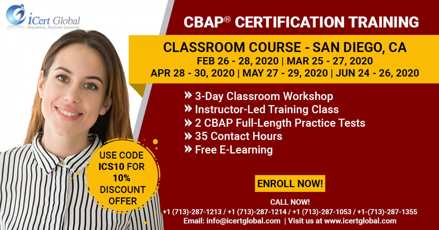 CBAP Certification Training in San Diego, CA   Classroom Training   iCert Global Infographic