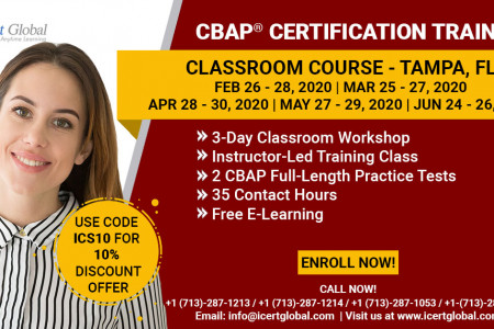 CBAP Certification Training in Tampa, FL | Classroom Training | iCert Global Infographic
