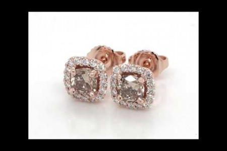 Champagne Diamond Halo Earrings in 14kt. Rose Gold (1.30ct. tw.) Infographic