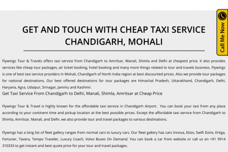 Cheap Taxi Service in Chandigarh To Delhi, Manali, Shimla and Amritsar Infographic