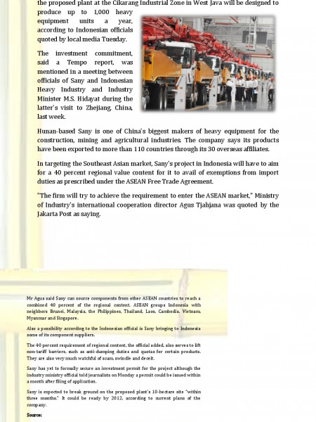 Chinese heavy equipment firm eyes Indonesia plant Infographic