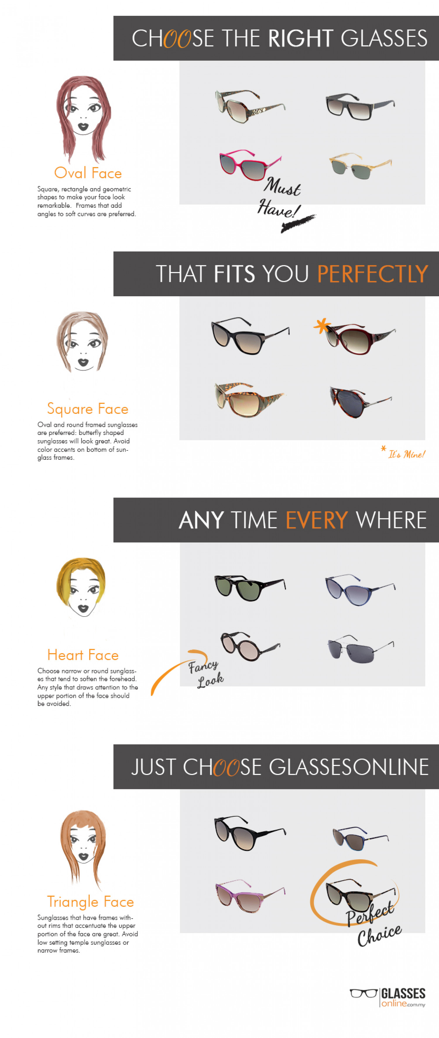 Choose the Right Glasses For Your Face Infographic