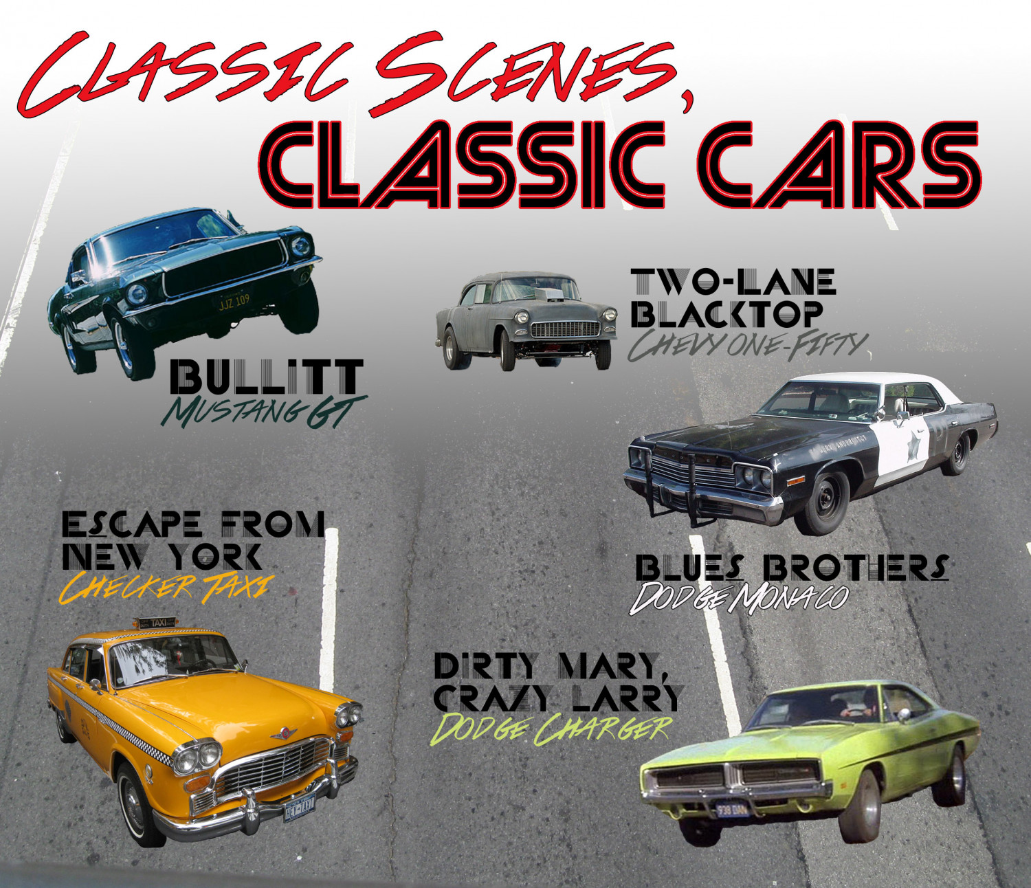 Classic cars from classic films Infographic
