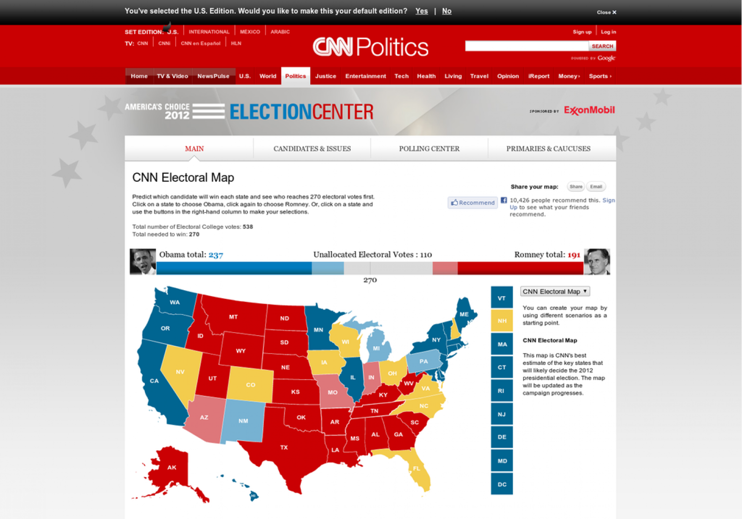 CNN 2012 Electoral Map Infographic