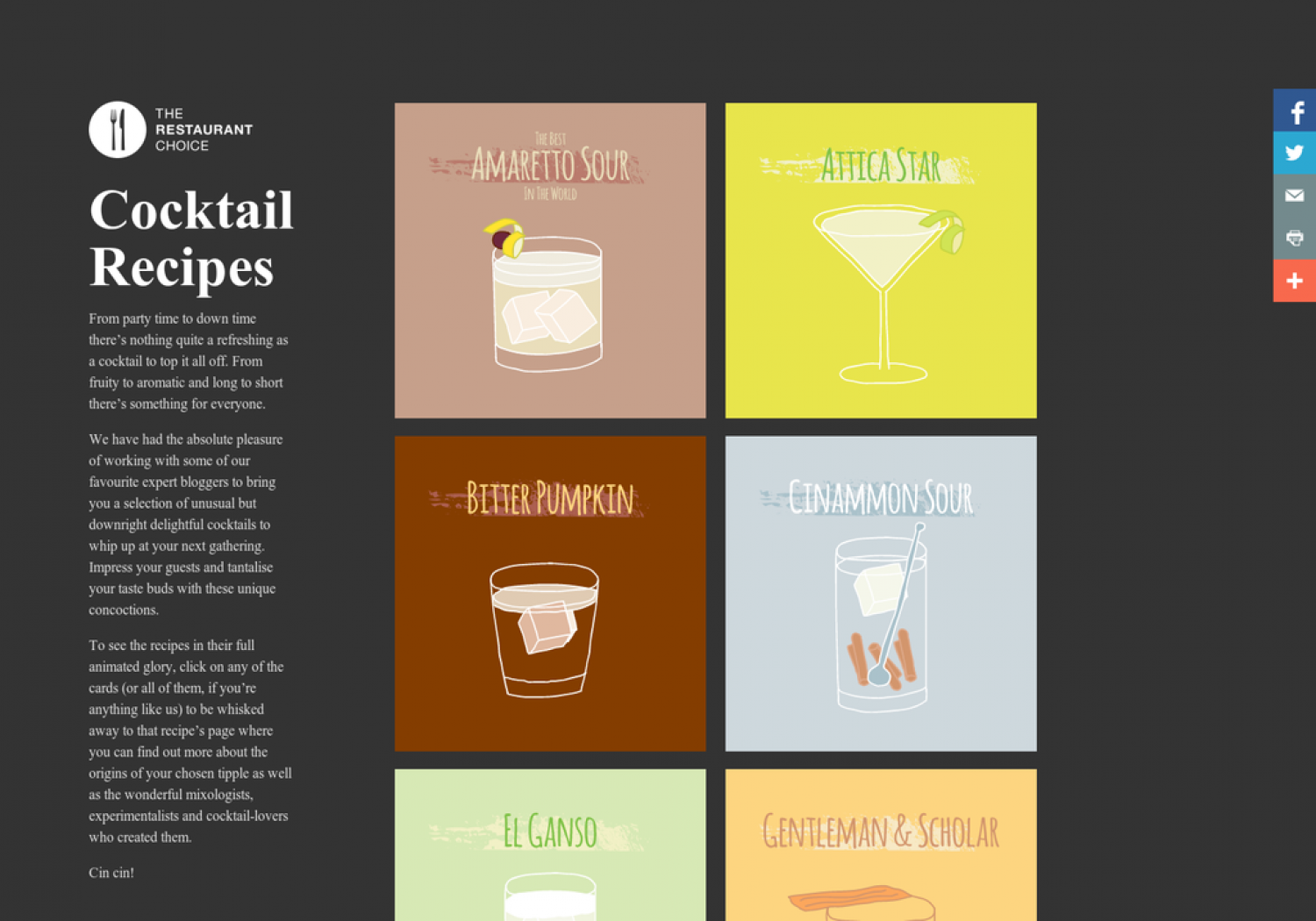 Cocktail Recipes Infographic