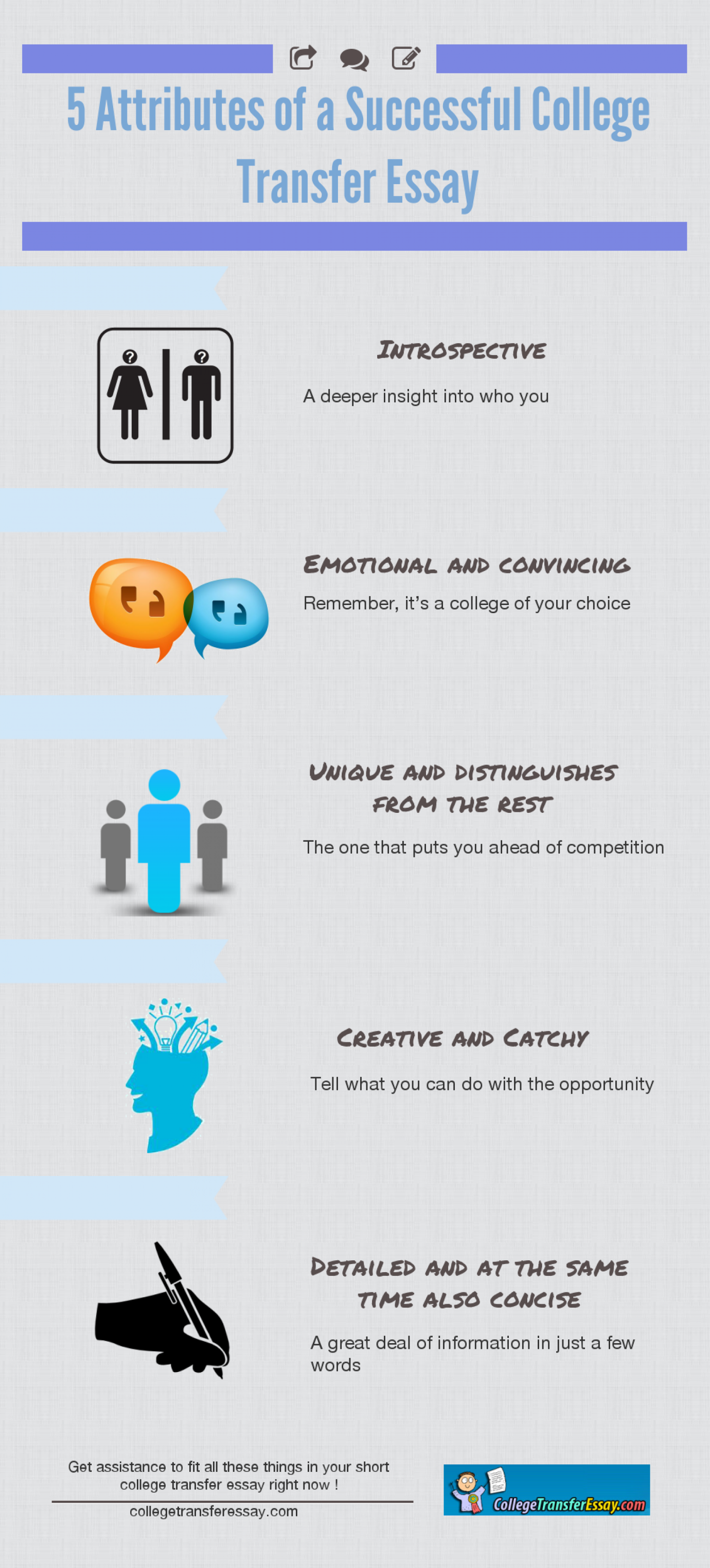 5 Attributes Of A Successful College Transfer Essay Infographic