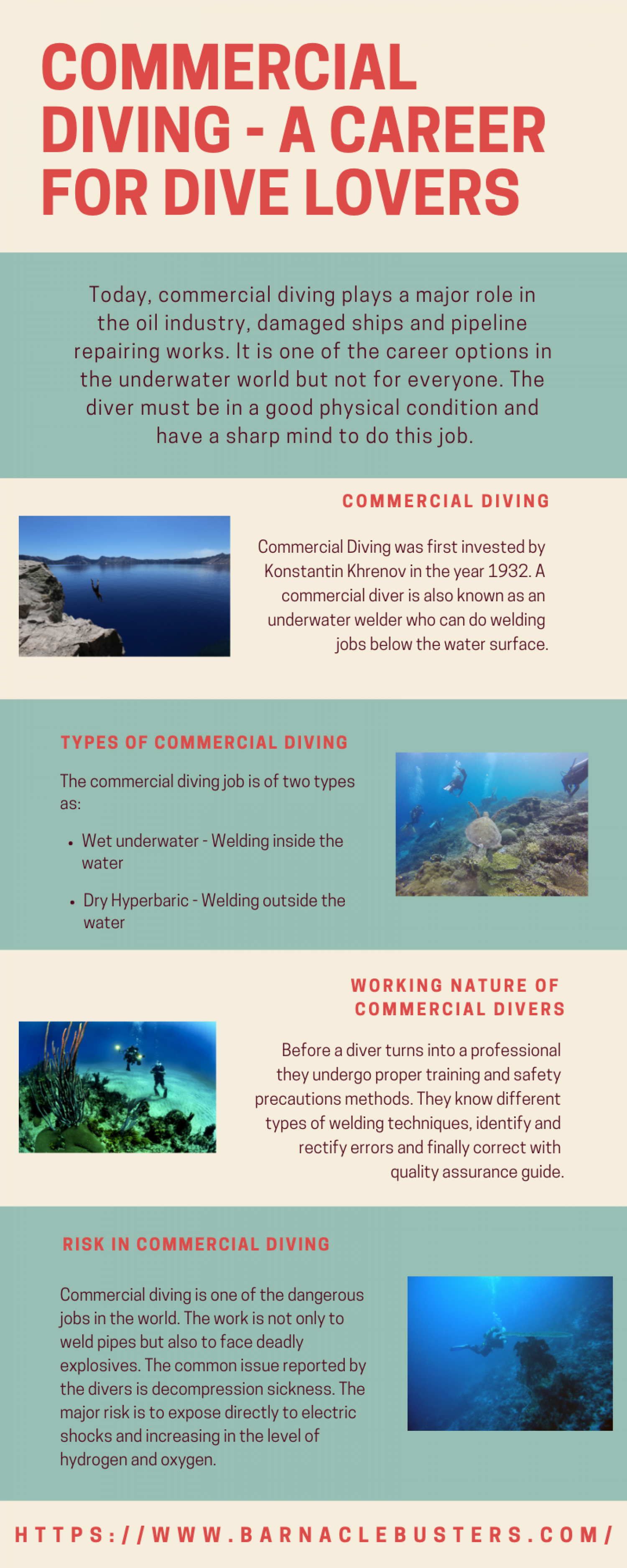 Commercial Diving - A Career for Dive Lovers Infographic