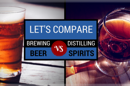 Compare Brewing Beer, Distilling Spirits, and Making Wine Infographic