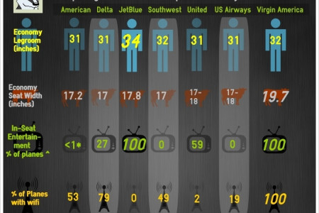 Comparison of Comfort on Major Airlines Infographic