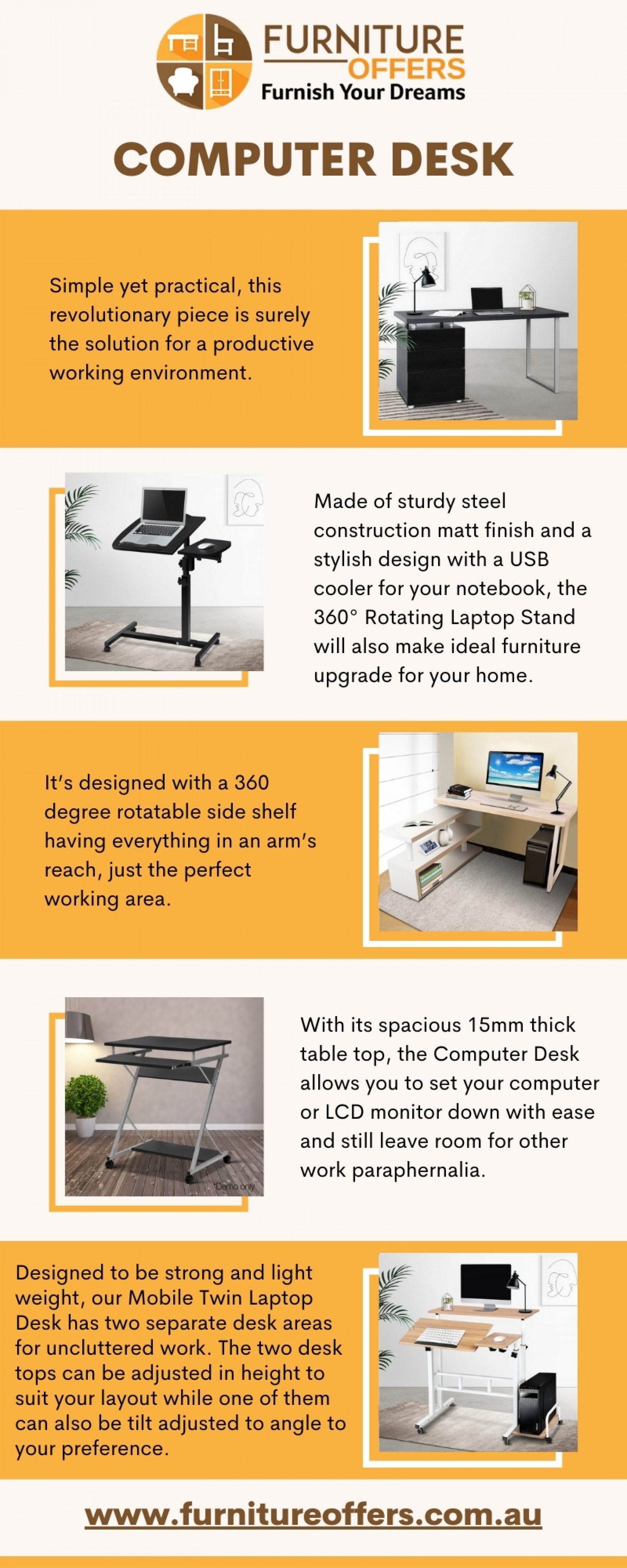 Computer Desk   Computer Stand with Afterpay - Furniture Offers Infographic