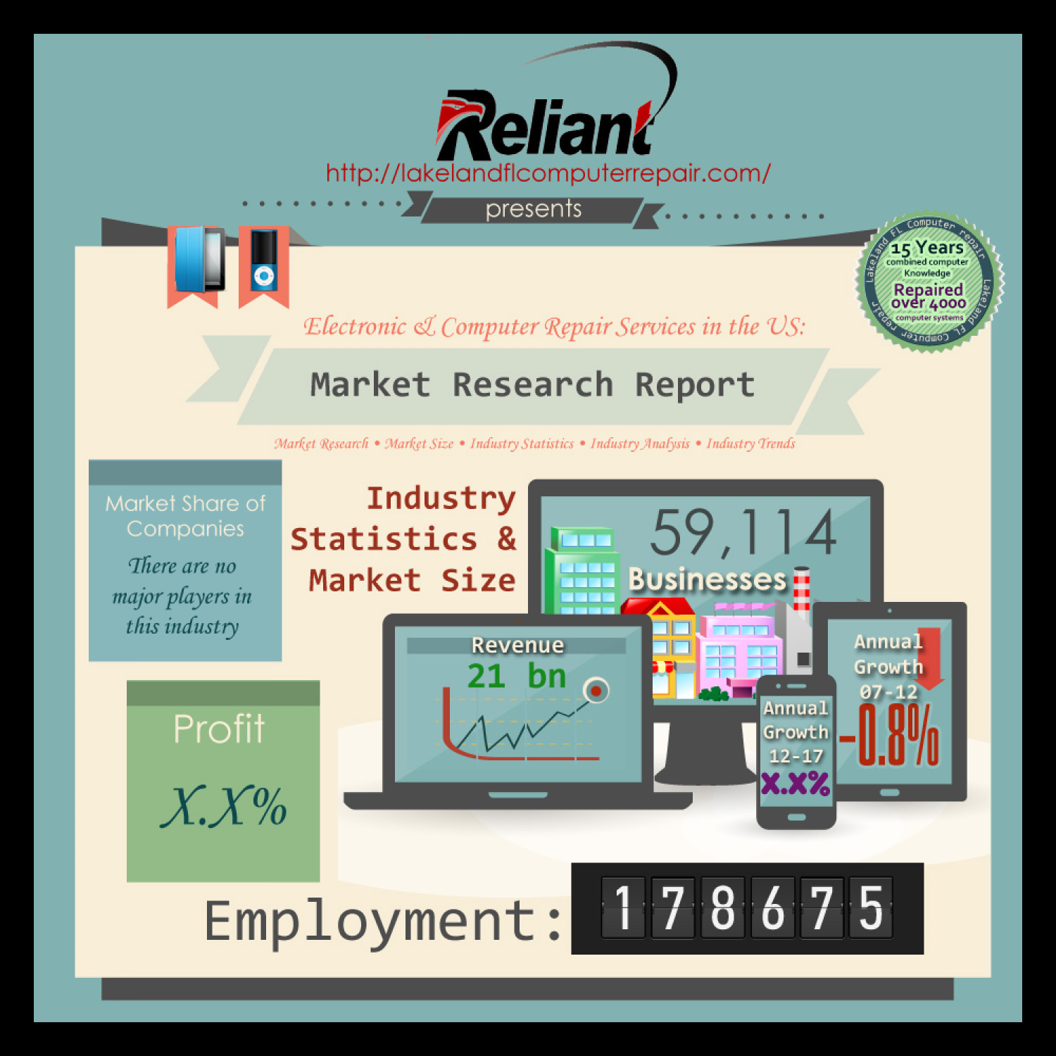Computer service industry by reliant computer services Infographic