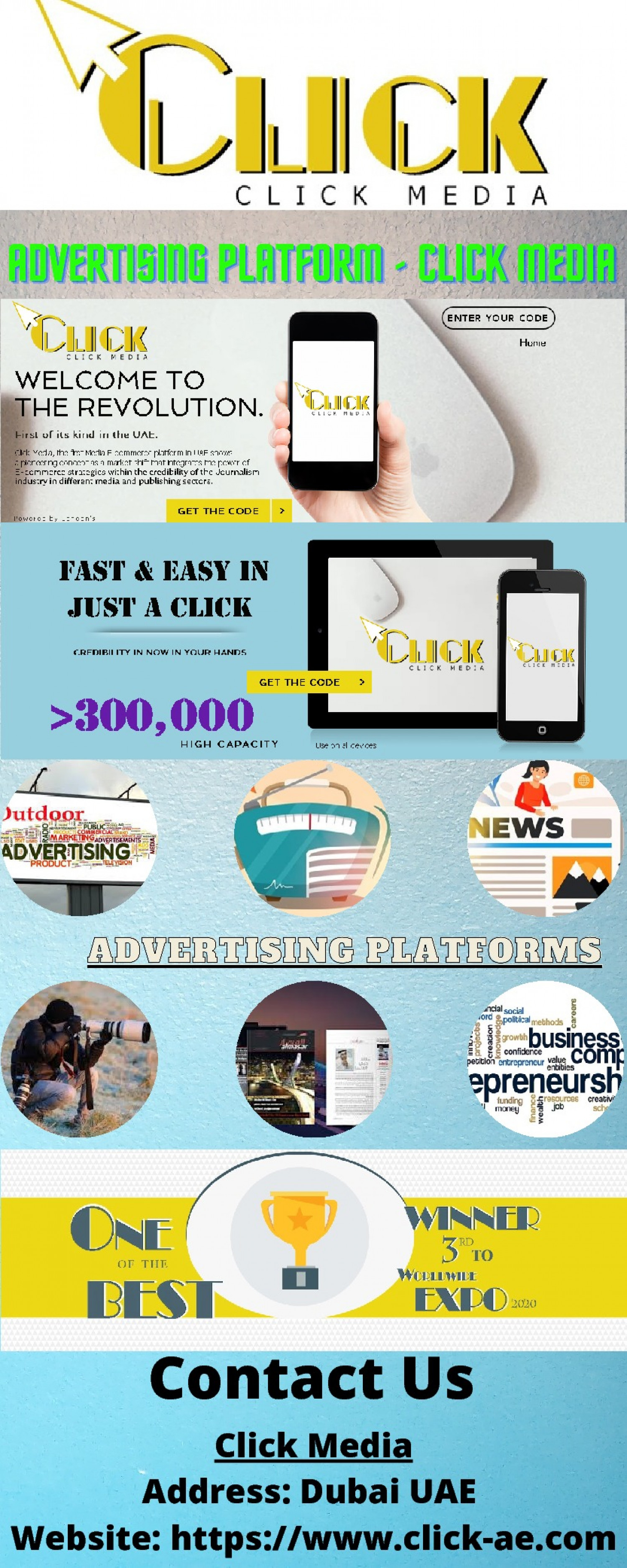 Contact for Advertising Platform - Click Media Infographic
