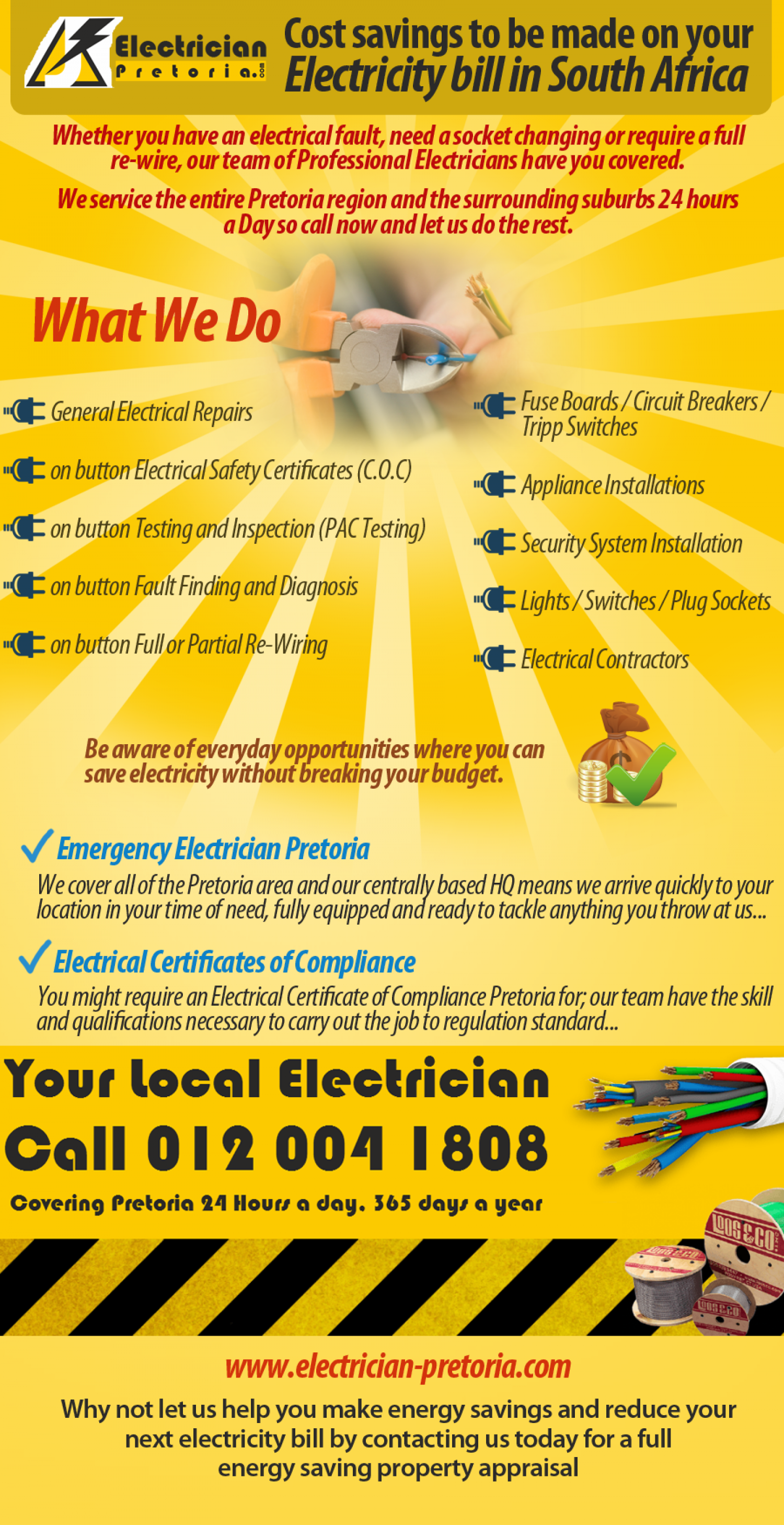 Cost savings to be made on your electricity bill in South Africa Infographic