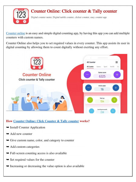 Counter Online: Click counter & Tally counter Infographic