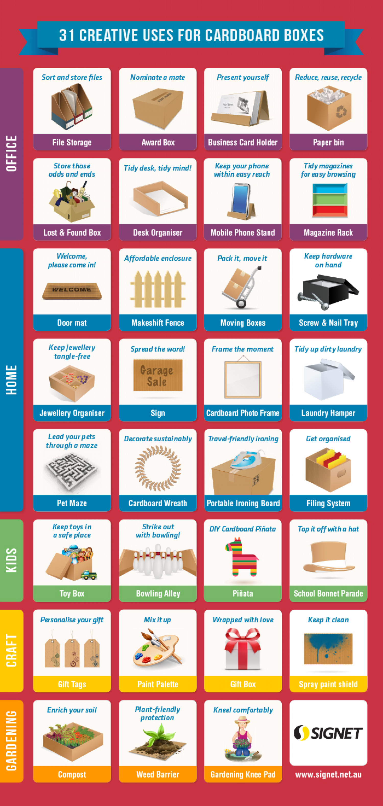 31 Creative Uses For Cardboard Boxes Infographic