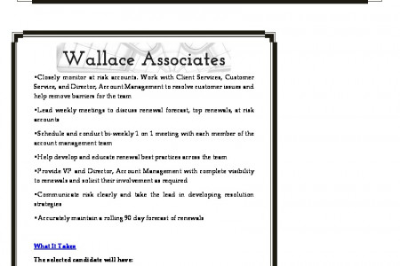 Current Opportunities: Manager, Corporate Accounts at Wallace Associates Inc Infographic