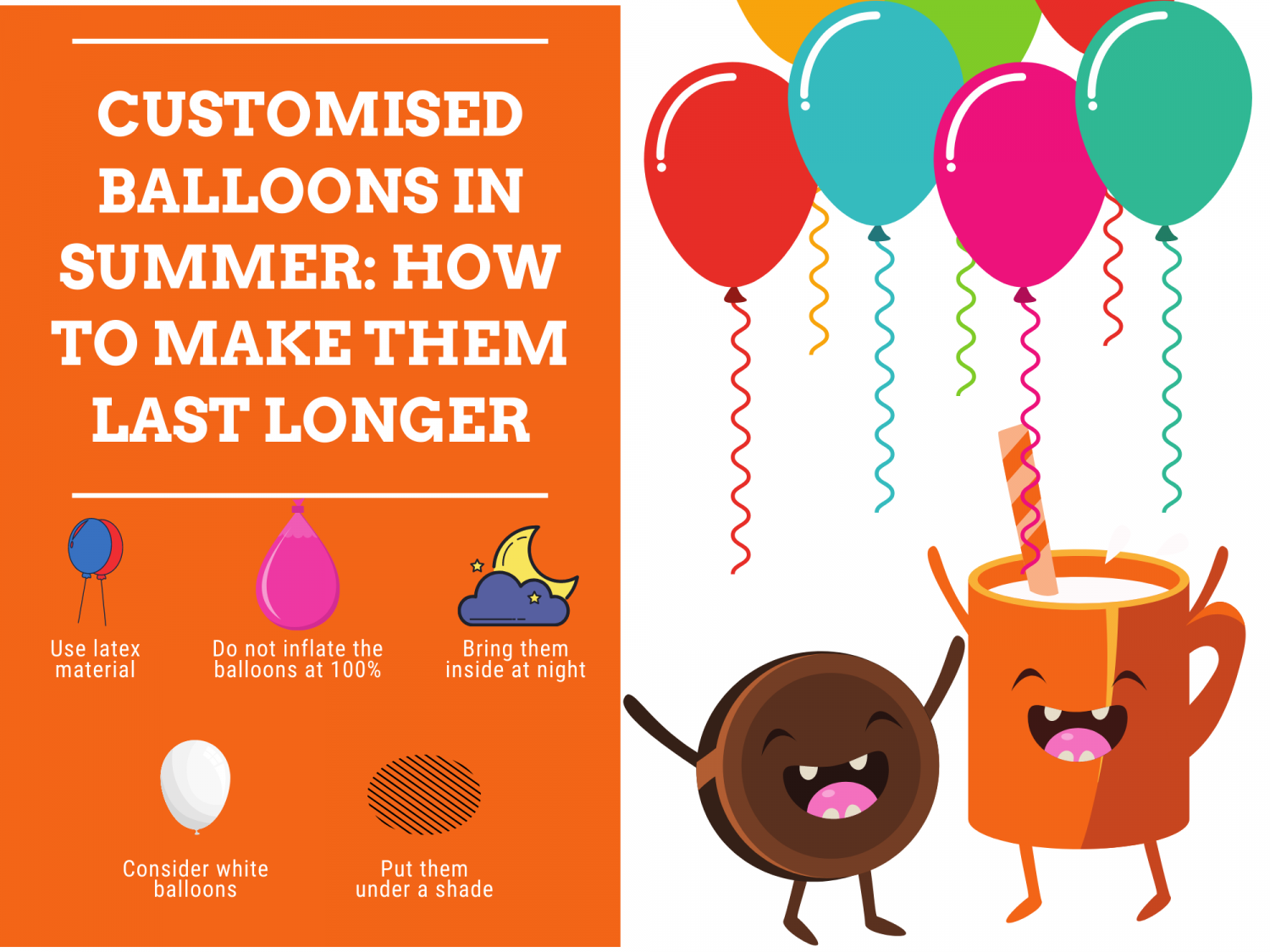 Customised Balloons in Summer: How to Make them Last Longer Infographic