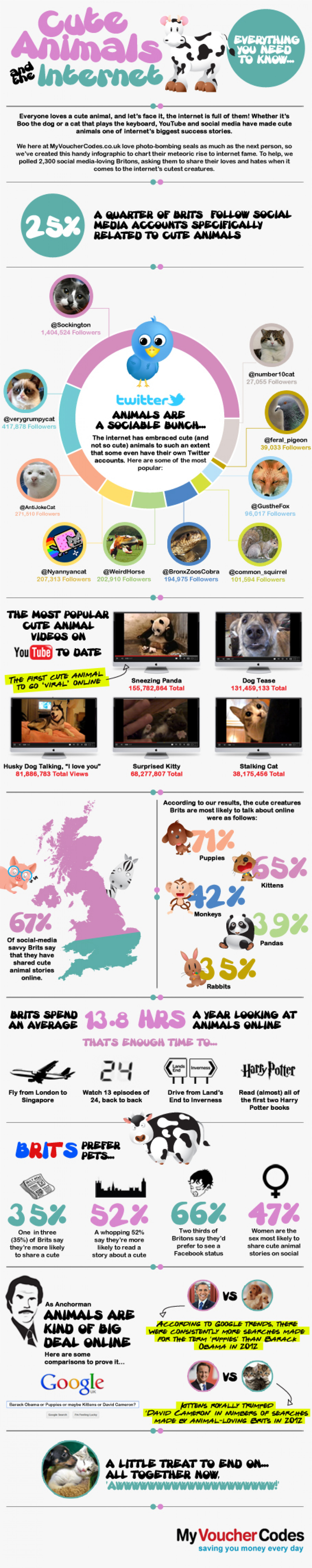 Cute Animals and the Internet Infographic
