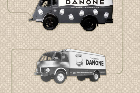 Danone's historical  trucks Infographic