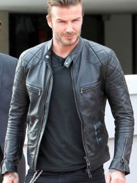 David Beckham Biker Leather Jacket  Infographic