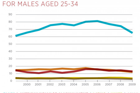 Death Rates from Gun Homicides for Males (Aged 25-34) Infographic
