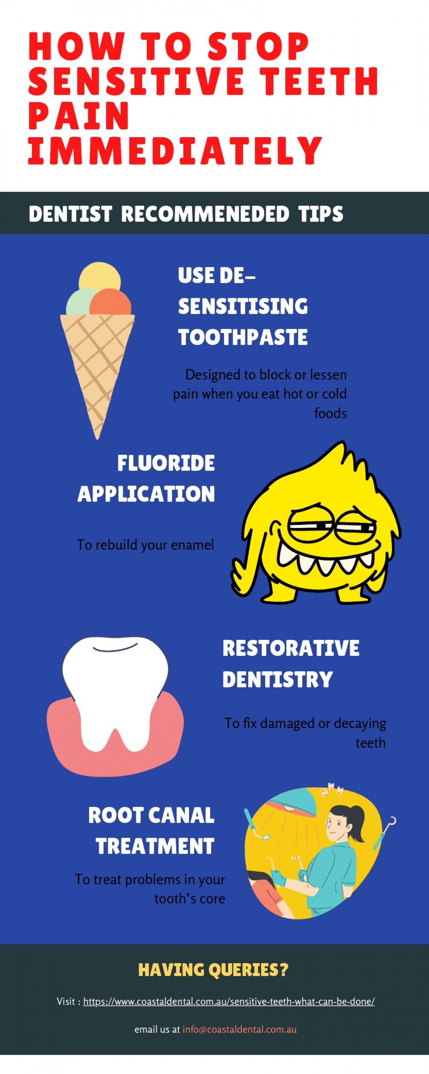 Dentist Tips to Stop Sensitive Teeth Pain Immediately Infographic