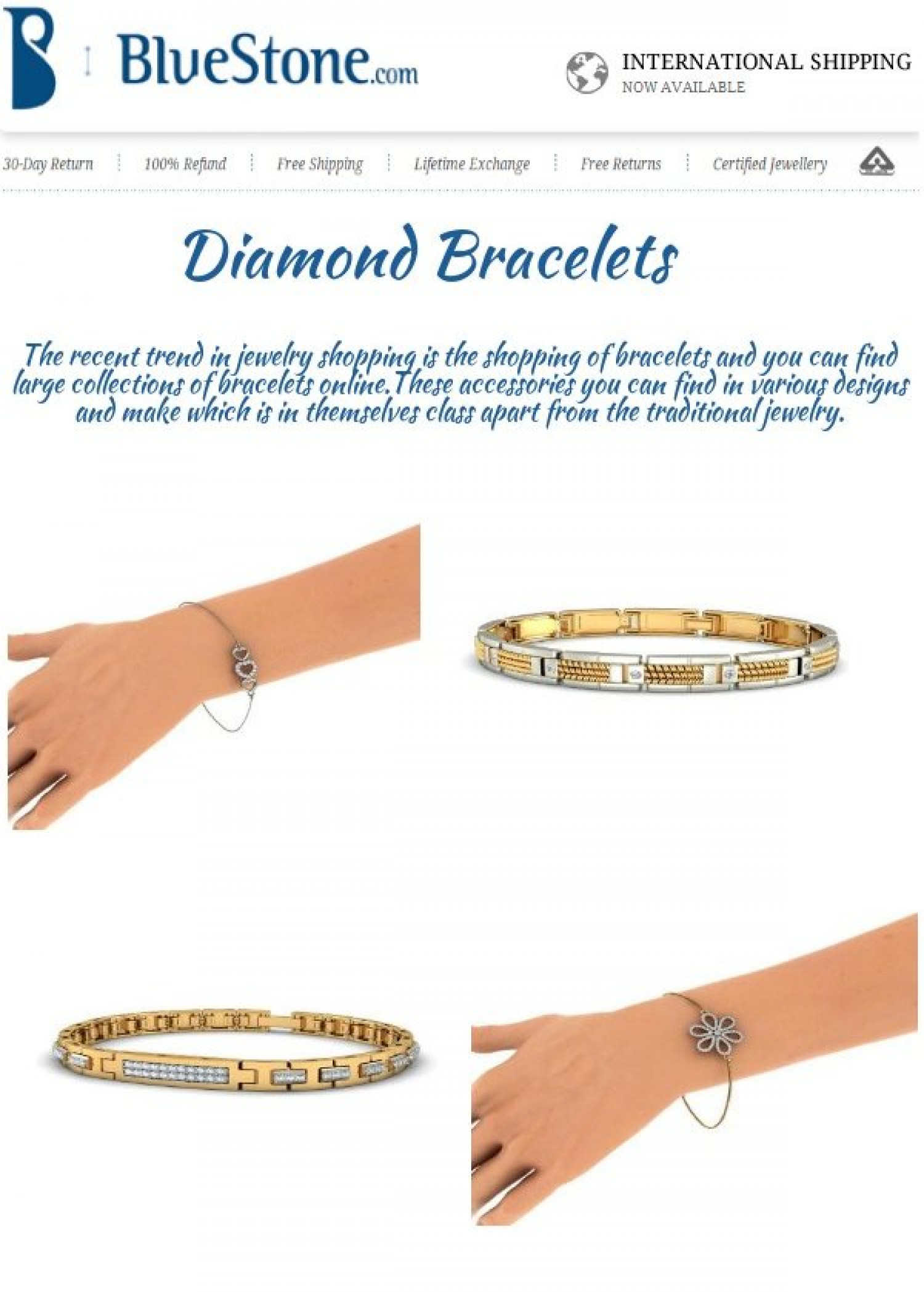 Diamond Bracelet Jewellery For Women Infographic
