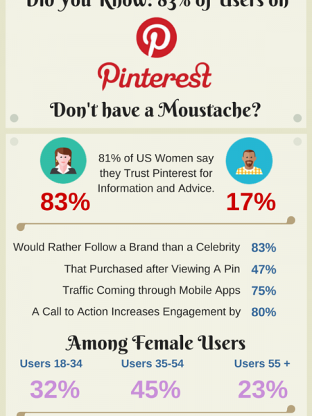 Did you Know: 83% of Pinterest Users Don't Have a Moustache? Infographic