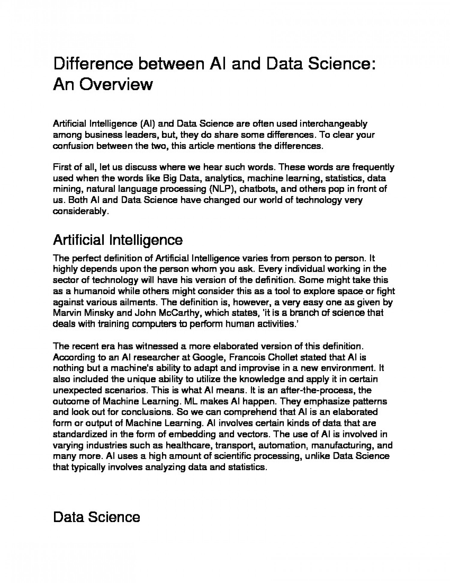 Difference between AI and Data Science: An Overview Infographic