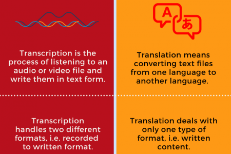 Differences Between Transcription & Translation Services Infographic