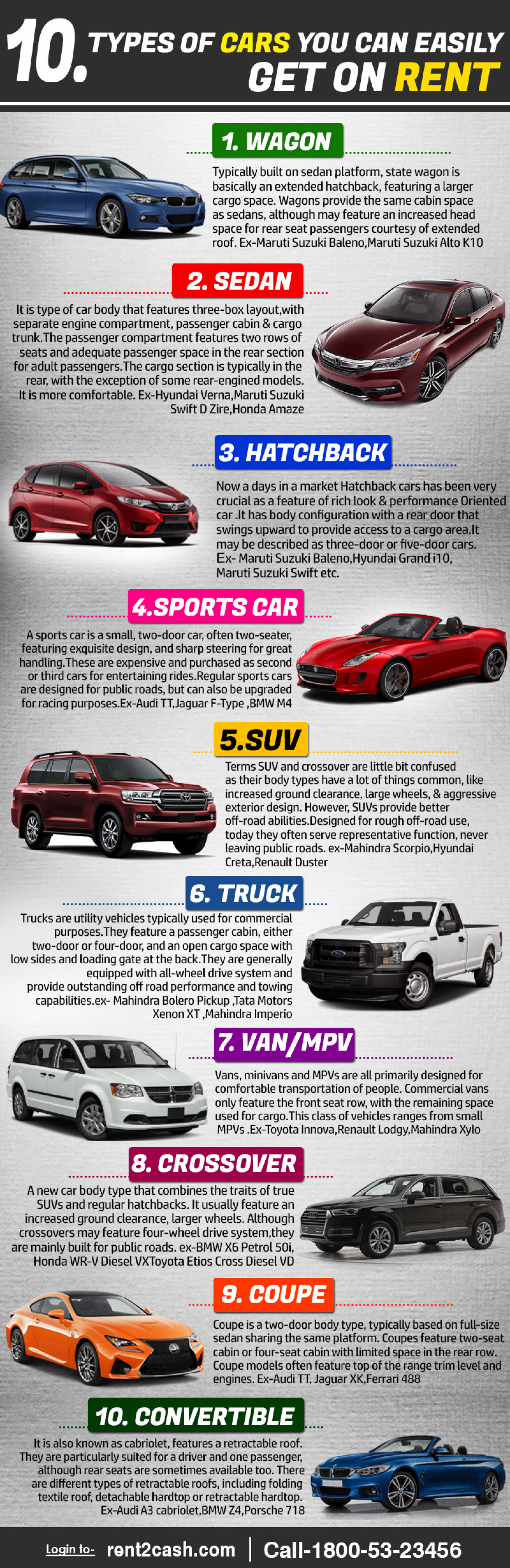 Different types of car that you can get on rent in India Infographic