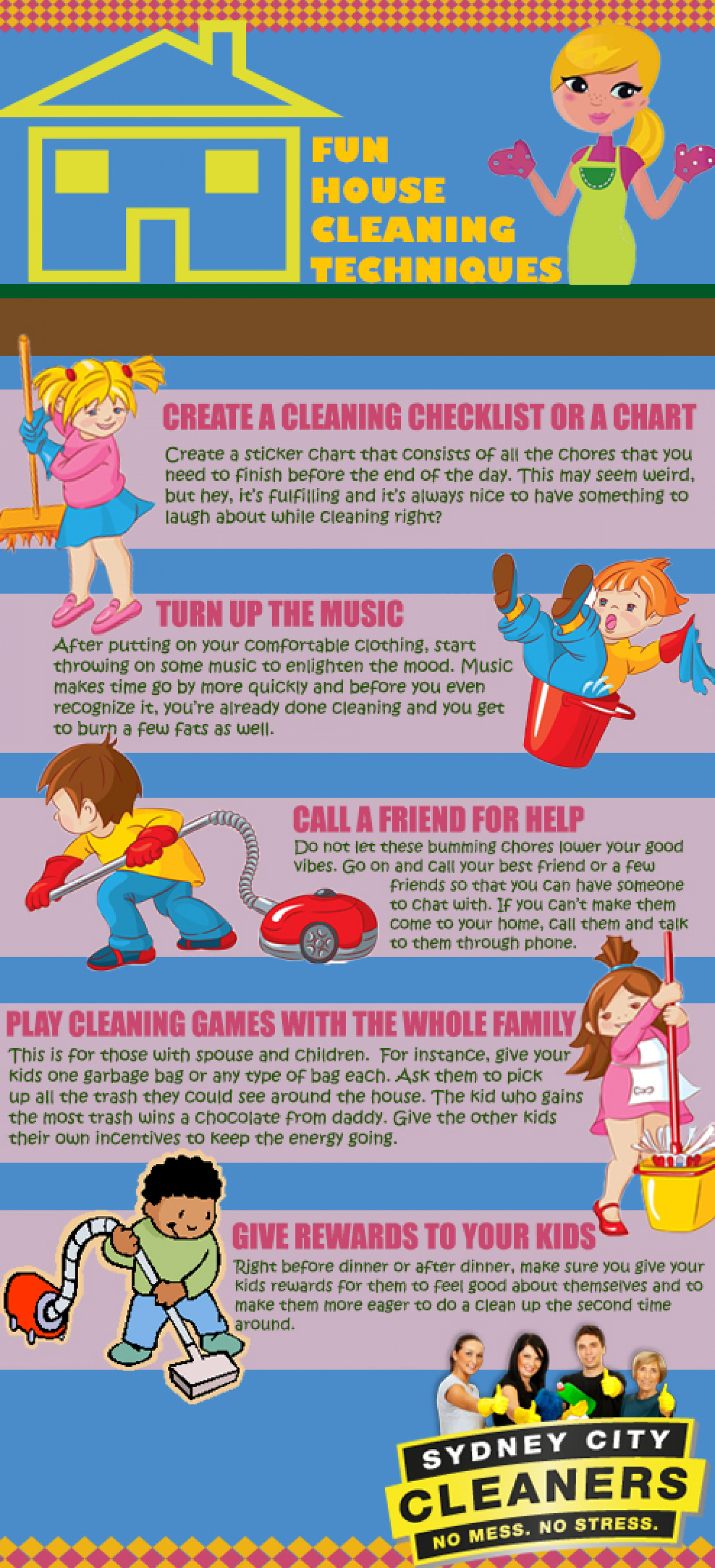 Fun House Cleaning Techniques Infographic