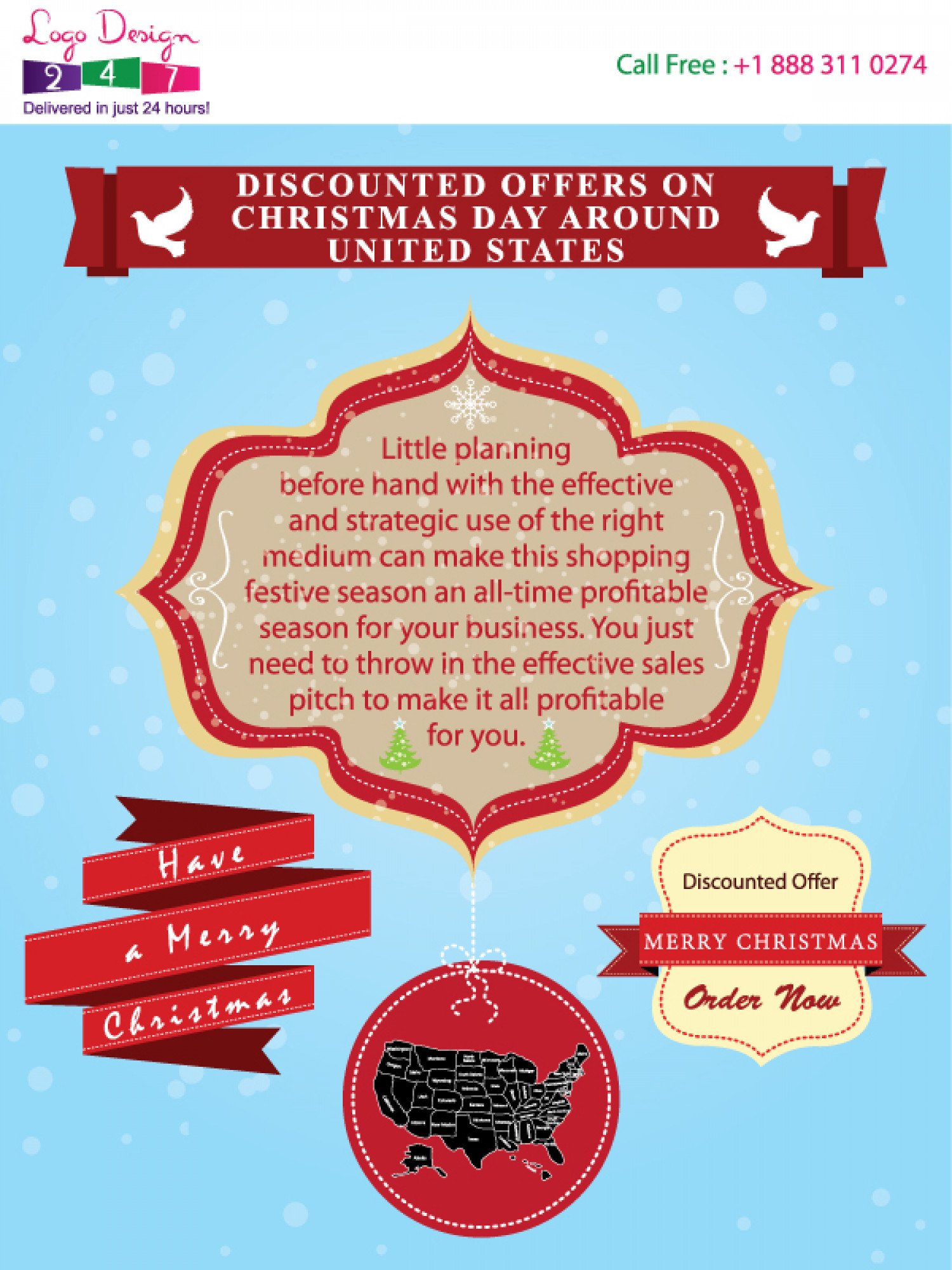 Discounted offers on Christmas Day around United States Infographic