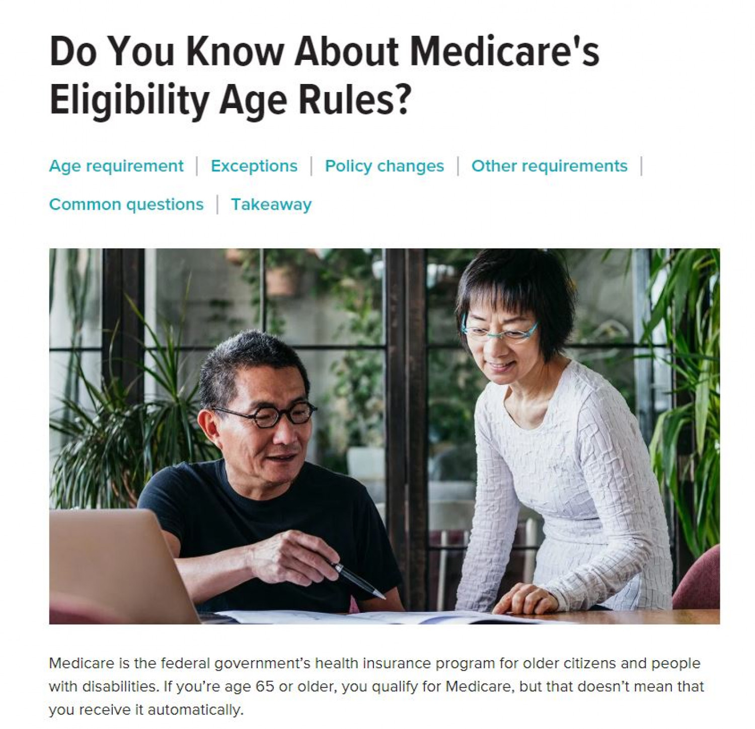 Do You Know About Medicare's Eligibility Age Rules? Infographic