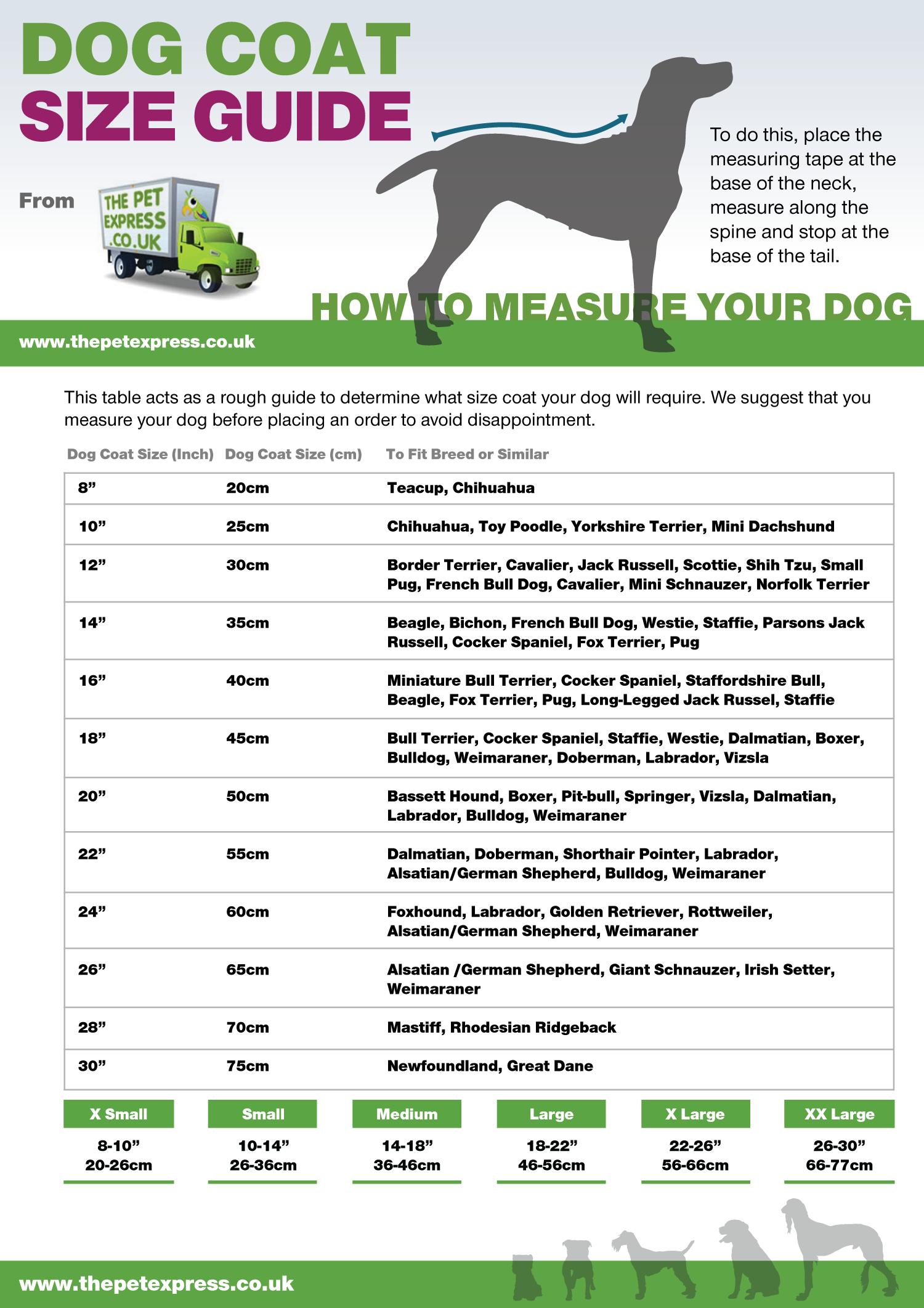 Dog Coat Size Guide Infographic