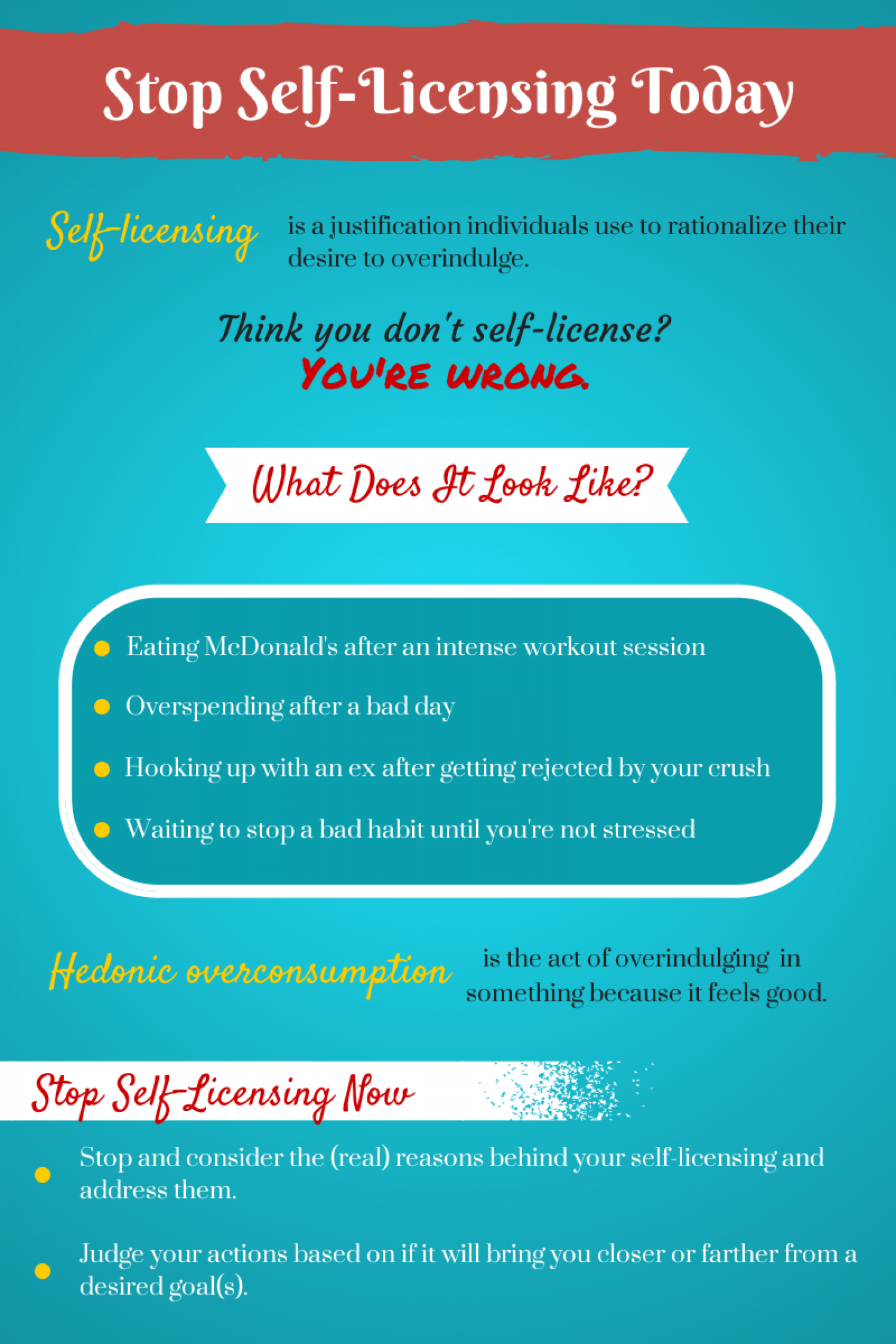 Don't Let Yourself Be a Victim of Self-Licensing Infographic