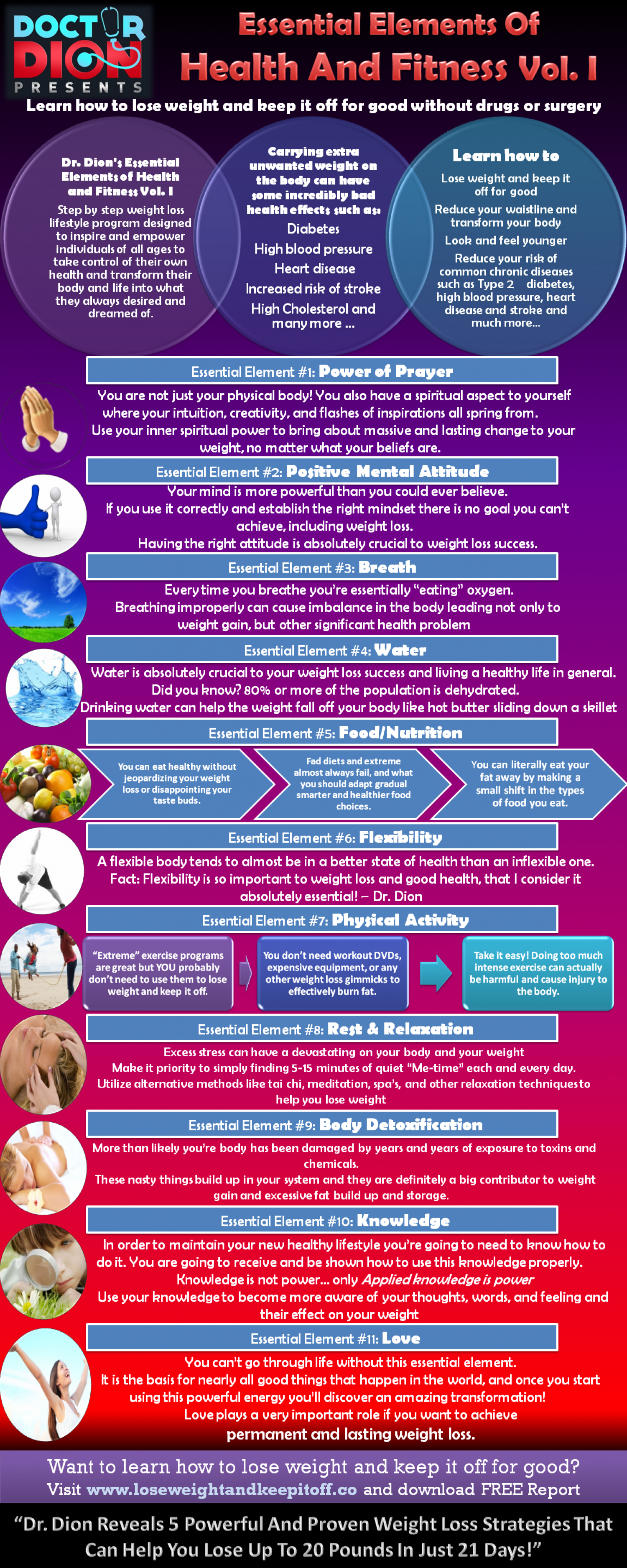 Dr. Dion's Essential Elements Of Health And Fitness Vol. I Infographic