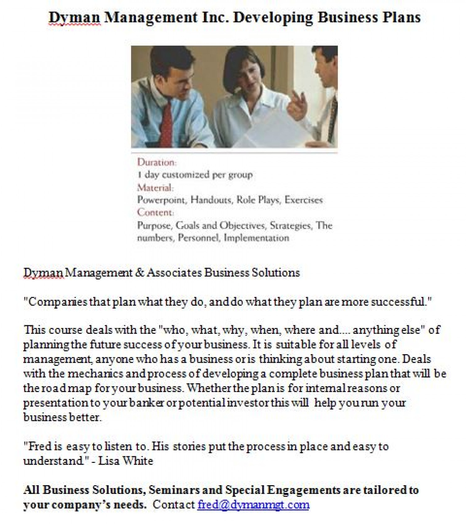 Dyman Management Inc. Developing Business Plans  Infographic