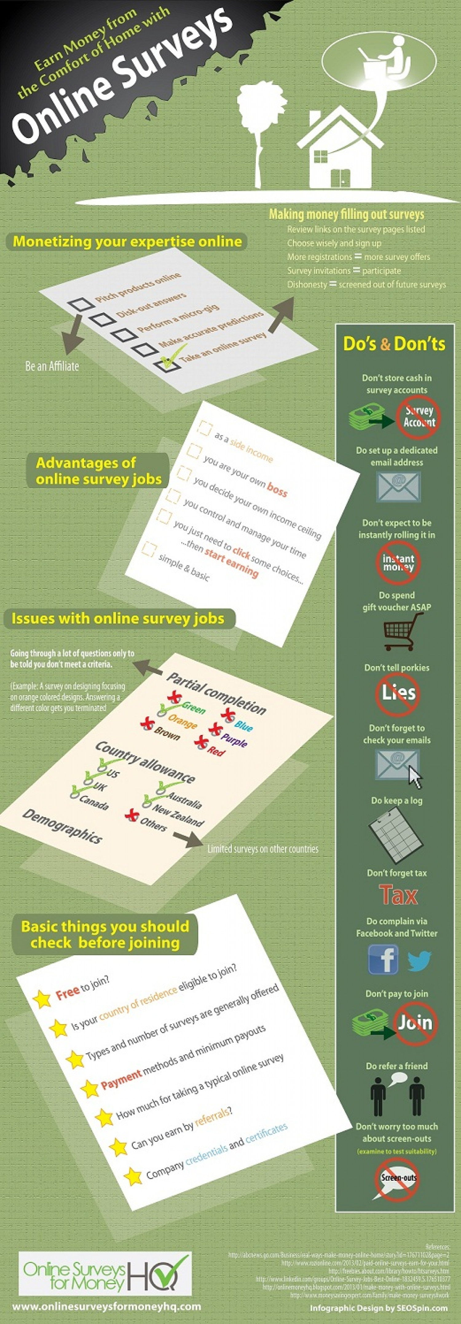 Earn Money from the Comfort of Home with Online Surveys Infographic