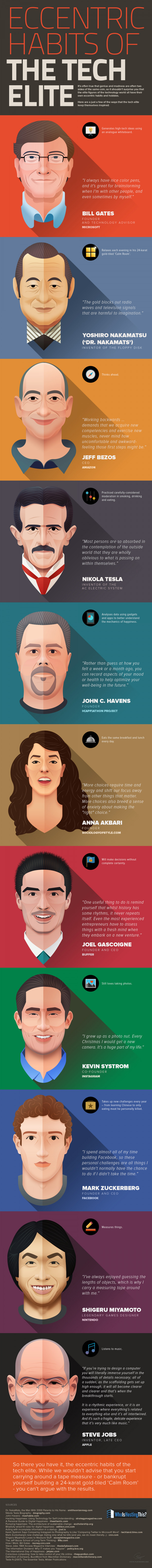 Eccentric habits of the tech elite - infographic