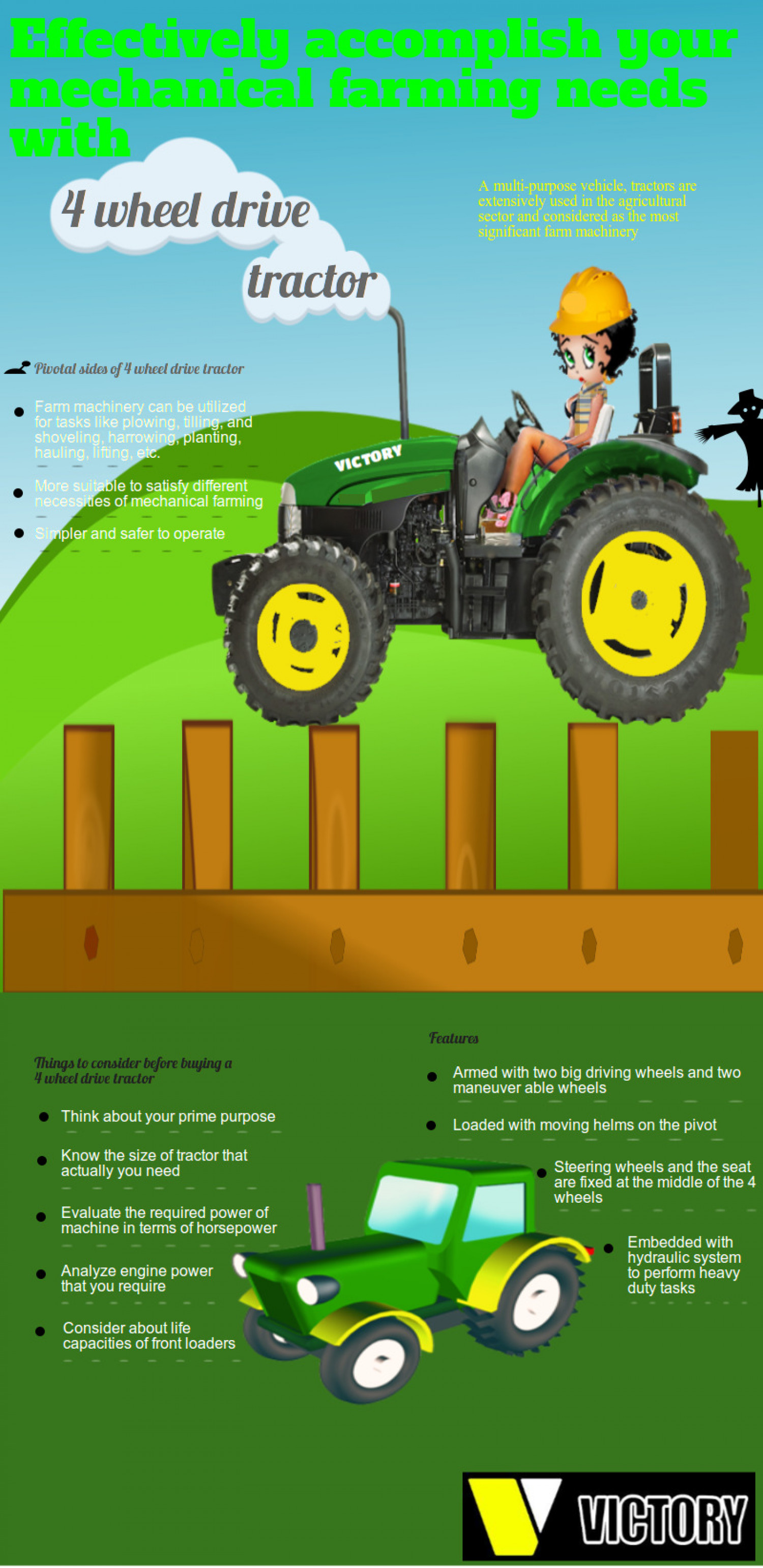 Effectively accomplish your mechanical farming needs with 4 wheel drive tractor Infographic