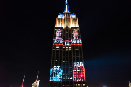 Election Night in America 2016 - Empire State Building Projections Infographic