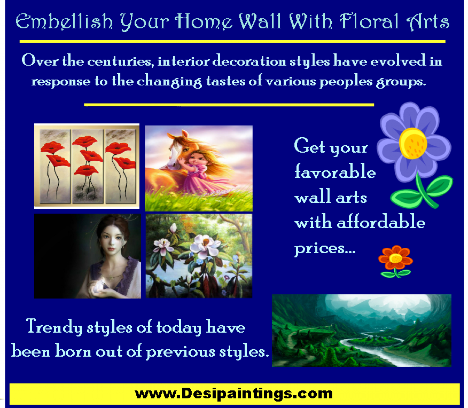 Embellish Your Home Wall with Floral Arts Infographic