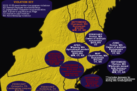 Employer FLSA Violation Enforcement Map: Northeast U.S. States  Infographic