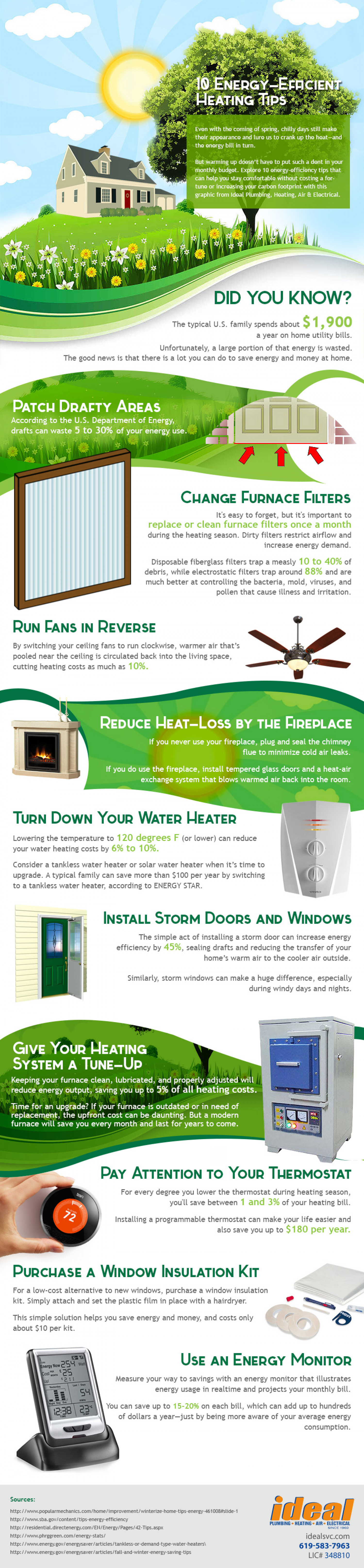 10 Energy Efficient Heating Tips Infographic
